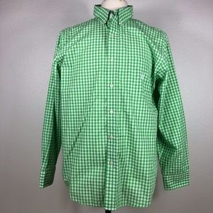 Chaps Long Sleeve Green Plaid Button Down - Large